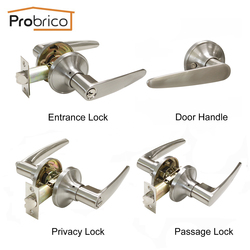 Probrico Locksets Stainless Steel Locks Entrance/Privacy/Passage Door Lock Brushed Nickel Door Knob Door Lever Handle DL815SN