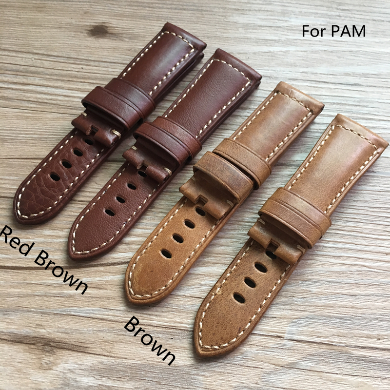 TJP Top Quality 24mm 26mm Red Brown Vintage Italy Calf Leather Strap Watchband Replace PAM PAM111 PAM441 Wristband With Word