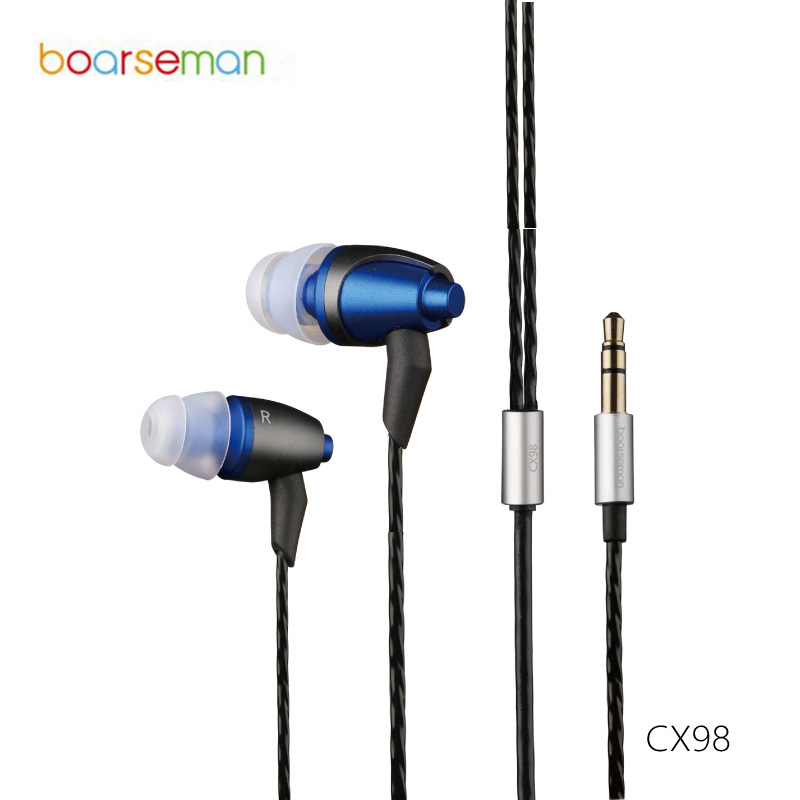 Original Boarseman CX98 In Ear Earphone 3.5MM Hifi Earphone Dynamic Earbuds Earphone For xiaomi mi5 for Samsung Phones Computer
