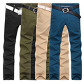 Men pants 2015 Spring new Men's Cotton cargo Straight Slim Fit Casual Long pants men Designed pants male