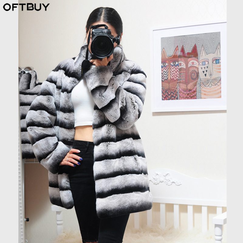 OFTBUY 2019 Real Fur Long Coat Winter Jacket Women Natural Rex Rabbit Fur Outerwear Thick Warm Brand Luxury Stand Collar Casual