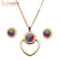Yunkingdom colorful round crystal african jewelry sets for women stainless  steel pendant earrings necklace UE0271 cac6dd65b5a5