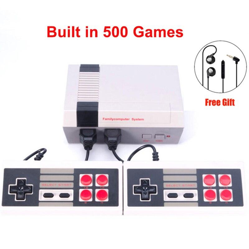 Новый Ретро детства мини ТВ портативной игровой консоли высокого качества для NES игры Встроенный 500 различных игровых pal + NTSC двойной геймпад