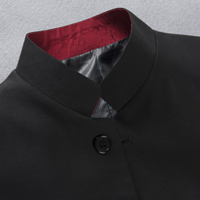 Men Black Suit Jacket Mandarin Red Collar Chinese Style Tunic Jacket Single Breasted Stand Collar Uniform Jacket Crows  Jacket
