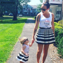 Mother and me clothes Letter Family t shirt + Striped Skirt 2pcs Set Mom daughter dress mae e filha Look Dress C0382