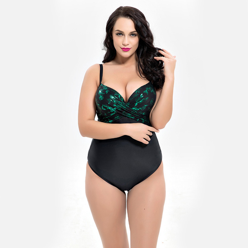 2018 Plus Size Push Up One Piece Swimwear Women Swimsuit Swim Bathing Suit Female Bodysuit Bather Pool Beach Wear Bikini Set 5XL floral two piece swimsuit women swimwear green leaf bodysuit beach bathing suit swim swimsuit push up monokini bathing wear 2017
