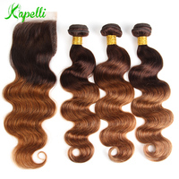 Indian Ombre Body Wave Hair Colored Bundles With Closure Ombre Human Hair Bundles With Closure Honey Blonde Bundles With Closure