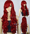"""FREE SHIPPING *****32"""" Long Heat Resistant Big Spiral Curl Dark Red Cosplay Wig"""