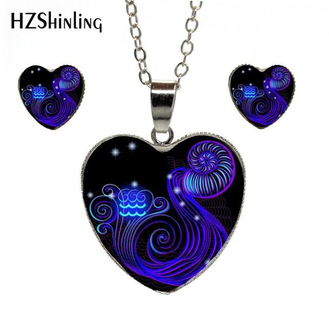 12 signes bleu zodiaque Leo vierge verre Cabochon roman plaqué coeur pendentif boucles doreilles signe zodiaque coeur ensemble de bijoux cadeaux danniversaire