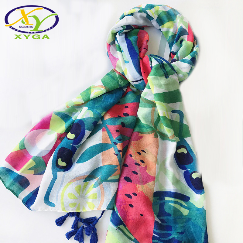 Spring Fashion Plant New Cotton Women Scarf With Tassels Energetic Soft Shawls Large Square Pashmina Wraps For Summer Traveling