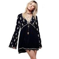 Meksykańskie Haftowane Sukienki Z Długim Rękawem V Neck Czarny Sukienka Suknie Czeski Brazylia Vestido Saida De Praia Roupas Feminina