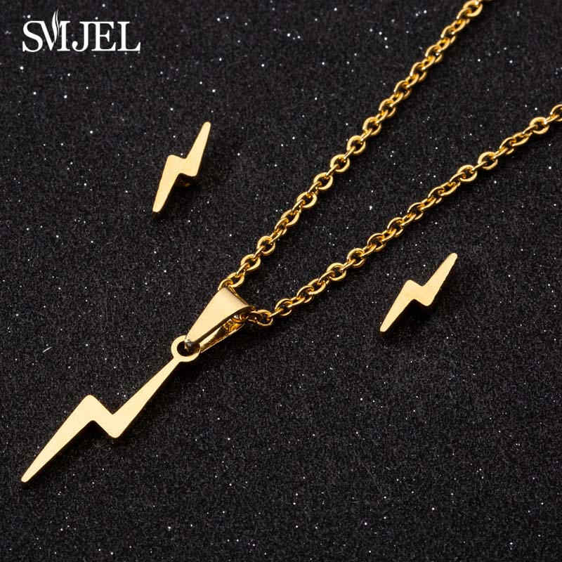 SMJEL Stainless Steel Thunder Lightning Necklaces For Women Flash Arrow Harry Earrings For Girlfriend Gifts Vintage Jewelry Set