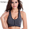 LongKeeper Ladies' Sexy Crop Top Women Bras Shockproof Zipped Padded Women Cropped Ziper T2023