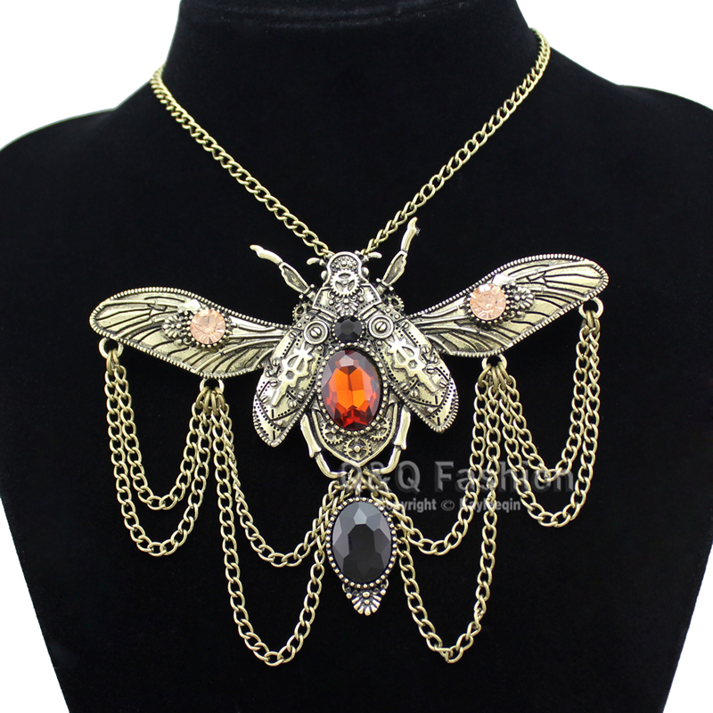 Vintage Khepri Scarab Beetle Pendant Overwatch Choker Steampunk Big Statement Chain Rhinestone Necklace Indian Anime Ανδρικά κοσμήματα