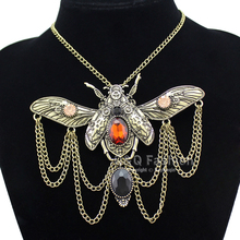 Vintage Khepri Scarab Beetle Pendant Overwatch Choker Steampunk Big Statement Chain Rhinestone Necklace Indian Anime Men