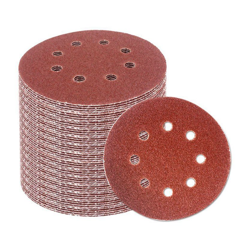 60pcs 5 Inch 8-hole Hook Loop Sanding Discs Sandpaper 60//80//120//180//240//320 Grit Accessories power tools