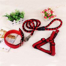 Fashion Dog Leash Pet Leads Belt Adjustable Traction Rope Walking Harness Chest Strap Chain Collar Durable 3 piece set