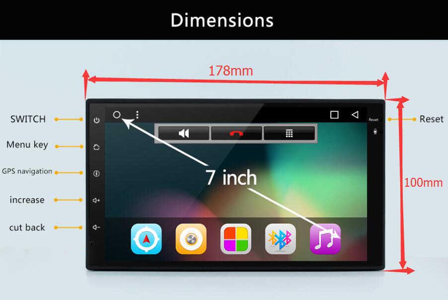 """Dört çekirdekli 7 """"2 Din Android 8.1 araç DVD oynatıcı radyo multimedya oynatıcı 1024*600 evrensel GPS navigasyon autoradio Stereo ses"""