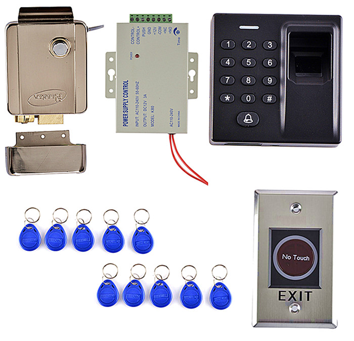 Strongly Electric Door Lock + Fingerprint Access Control System Kit +10 Key Card+Power Supply diy lock system metal keypadl k2 electric control lock 3a power supply exit button 10pcs key cards wireless remote control