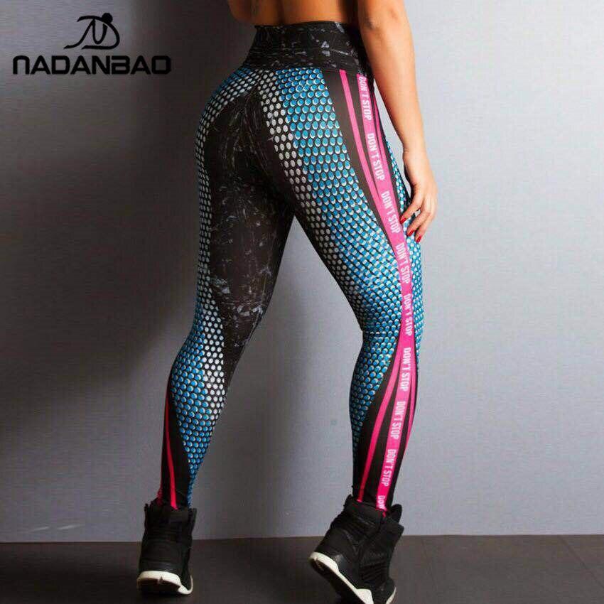 NADANBAO 2019 Don't Stop Women Leggings Spot Workout Fitness Legging Hight Waist Elastic Sporting Leggins Digital Print Pants