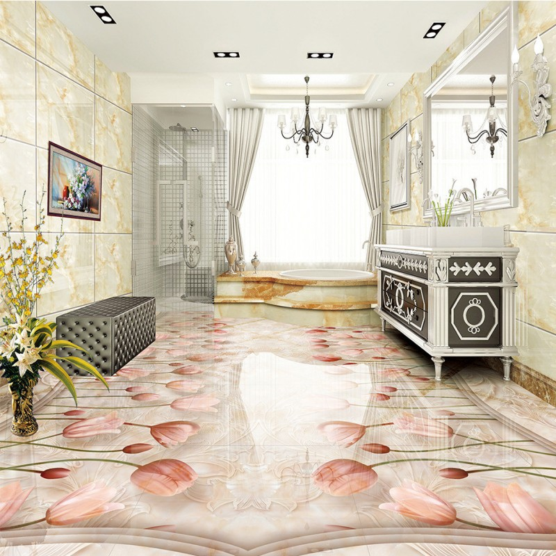 Free shipping Classic European Marble Tulip Flower 3D Floor 3d flooring custom living room self-adhesive photo wallpaper flowers