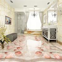 Free shipping Classic European Marble Tulip Flower 3D Floor 3d flooring custom living room self adhesive photo wallpaper flowers