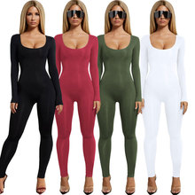 2019 Jumpsuits for Women sexy black bodycon jumpsuit women slim skinny Romper Trousers Casual long sleeve