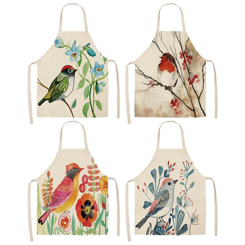 1 Pcs Uccello Modello Di Filiale Grembiuli Da Cucina Per Le Donne In Cotone E Lino Bavaglini Per La Casa Accessori Per La Pulizia Grembiule Da Cuoco 53*65 Cm A1017