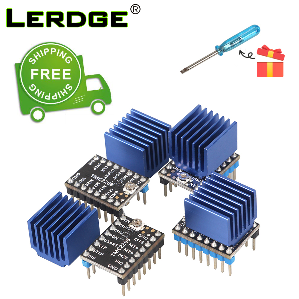 LERDGE 3D Printer Parts 4PCS Stepstick TMC2208 Stepper Motor Driver Super Silent With New Heat Sinks Replace TMC2100