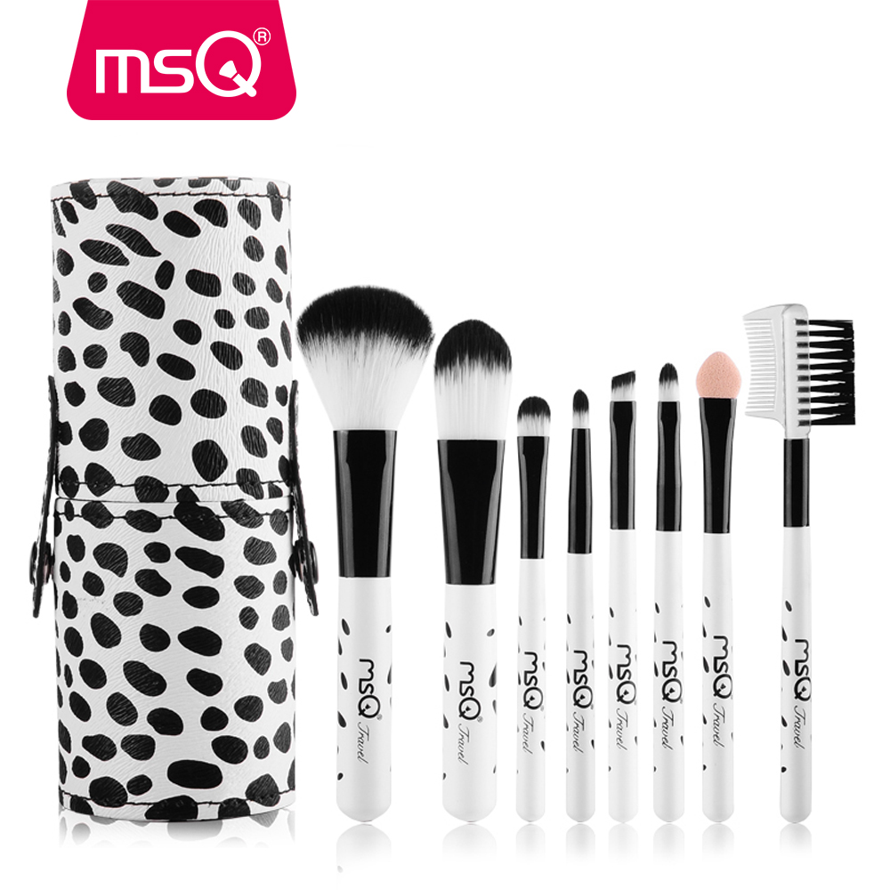 MSQ Milky Mini 8pcs Travel Makeup Brushes Set Soft Synthetic Hair Natural Wood Handle With PU Leather Cylinder msq professional 15pcs makeup brushes set soft synthetic hair natural wood handle with pu leather case for beauty fashion tool