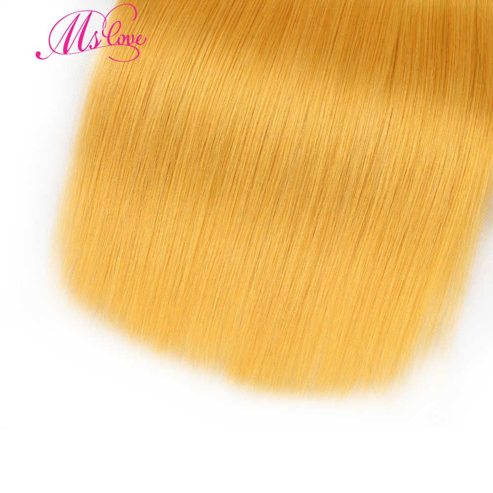 MS Aşk Sarı Düz Saç Demetleri Ile Frontal Kapatma 13*4 Dantel Boyutu Remy Brezilyalı Insan Saç Demetleri dantel Frontal