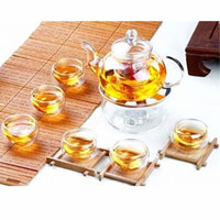 800ML Tea Pot Set Infuser Teapot Warmer With Strainer Borosilicate Heat resistant Glass Flowers 6 Double Wall Tea Cups