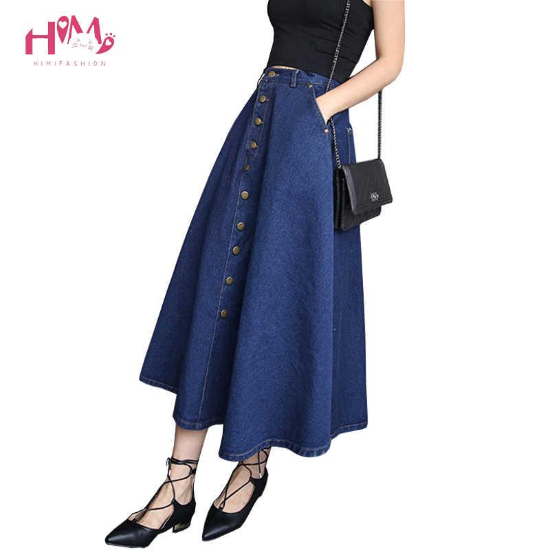 401831ab7d Women Summer High Waist A Line Long Denim Skirt Vintage Button Flared Skirts  Plus Size S