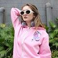 Harajuku suave chica chica rosa letra oración gesto no-hoodedcoat gruesa de impresión fleece estudiante