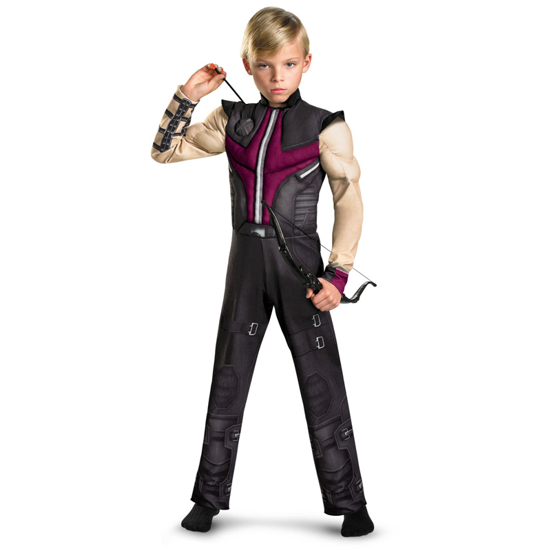2016 new Kids Hawkeye Avengers Muscle Costume Boys disfraces infantiles superheroes halloween party cosplay fancy dress