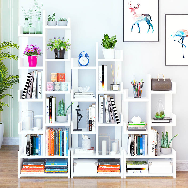 Modern Minimalist Bookcase Creative Multifunctional Student Storage Bookshelf Nordic Large Capacity Bookcase Home Furniture