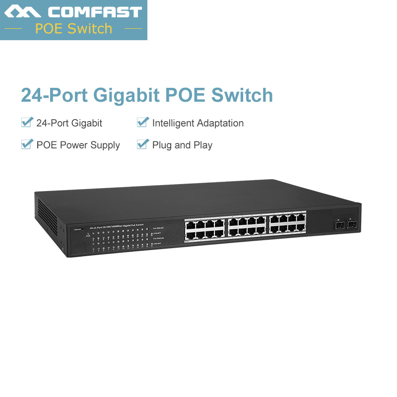 Comfast 24-Port 10/100/1000Mbps with 2 SFP Slots Gigabit PoE Switch,EEE 802.3af/at automatic detection POE Switch,for camera AP цена