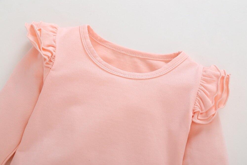 Infant Baby White Cartoon Giraffe Print Tops Spots Pink Pants Outfits Set Clothe