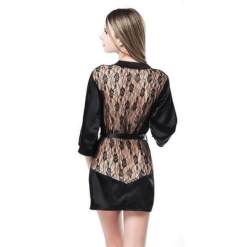 Sexy Lingerie Women Satin Lace Kimono Sleepwear Backless Bandage Deep V Neck Lingerie Sexy Night Gown Lady Erotic Underwear QQ09