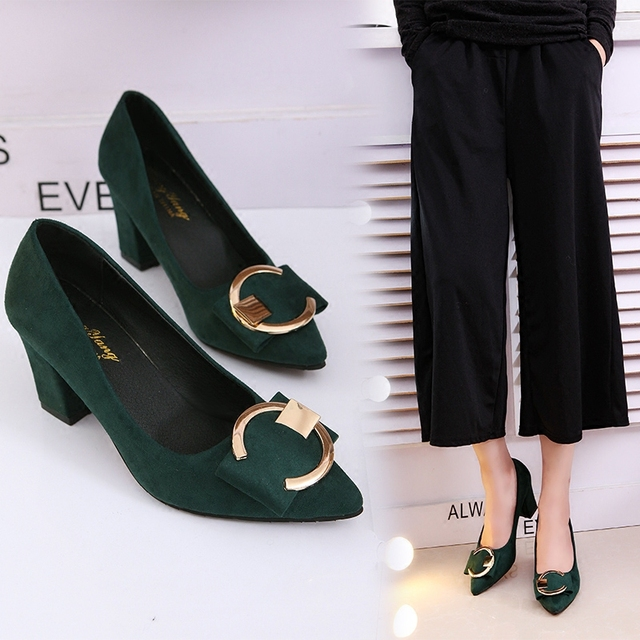 2018 new Korean version of the pointed shallow mouth suede thick with single shoes fashion wild comfortable high heels
