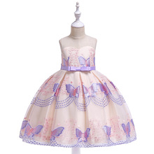 Children Girls Butterfly Embroidery Silk Princess Dress Cute Evening Party Elegant Wedding Pageant Gowns