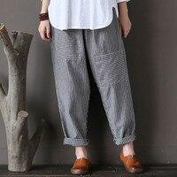 S 5XL CELMIA 2018 Women Autumn Elastic Waist Striped Patch Pockets Loose Cotton Linen Long Harem