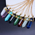Fashion Jewelry gold Hexagonal Column Bullet Pendant Necklace Color Quartz Turquoise Agate Amethyst Natural Stone Clavicle Chain