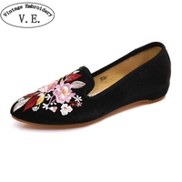 Vintage Embroidery Women Flats Silk Satin Pointed Toe Shoes Woman Ladies Casual Slip On Walking Shoes Chinese Style Ethnic Shoes