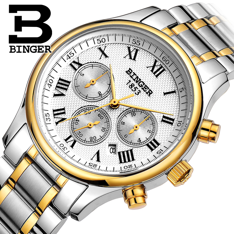 Authentic Hot Luxury Switzerland BINGER Brand Men automatic mechanical full steel leather strap fashion male watch free shipping authentic hot luxury switzerland binger brand men automatic mechanical full steel leather strap fashion male watch free shipping