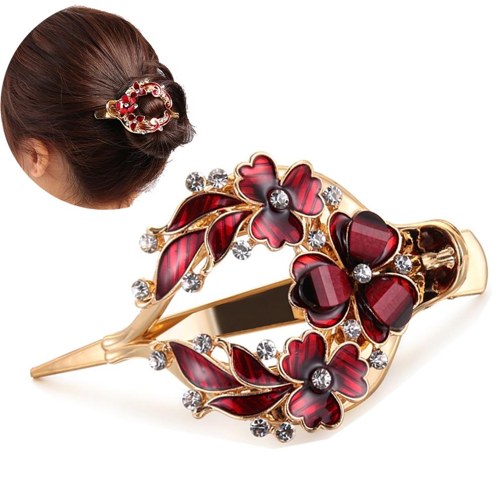 2019 New Female Colorful Flower Hollow Hair Clip Crystal Barrette Hair Accessories Women Fashion Rhinestone Hairpin   Headwear