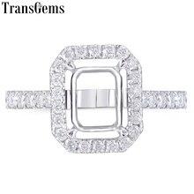 Transgems 14K זהב הלבן Halo סוג טבעת חצי הר ללא 7*9mm אמרלד חן אבל עם moissanite מבטאים מותאם אישית טבעת