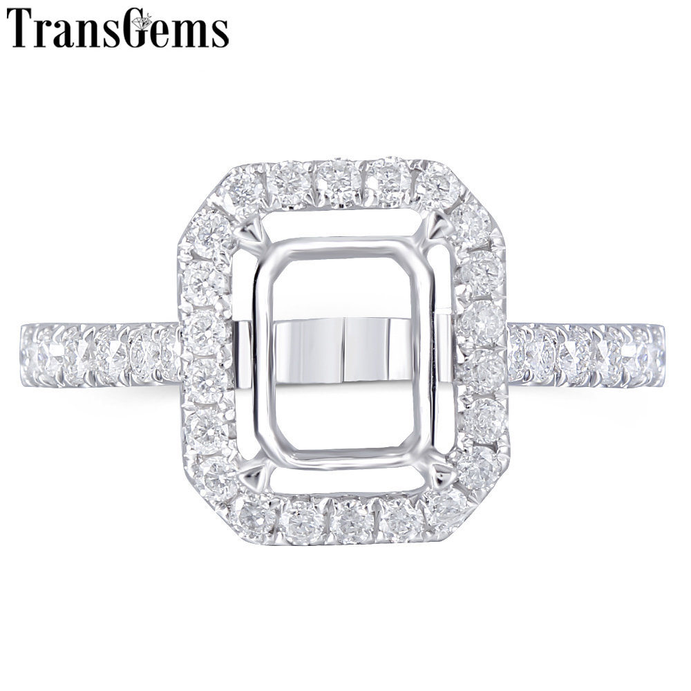 Transgems 14K White Gold Halo Type Ring Semi Mount without a 7*9mm Emerald  Gemstone but with Moissanite Accents Customized Ring-in Rings from Jewelry & Accessories    1