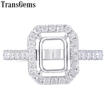 Transgems 14K White Gold Halo Type Ring Semi Mount without a 7*9mm Emerald  Gemstone but with Moissanite Accents Customized Ring austrialian fire opal marquise shape 5 10mm 100% natural gemstone ring with moissanite in 14k rose gold with gift box