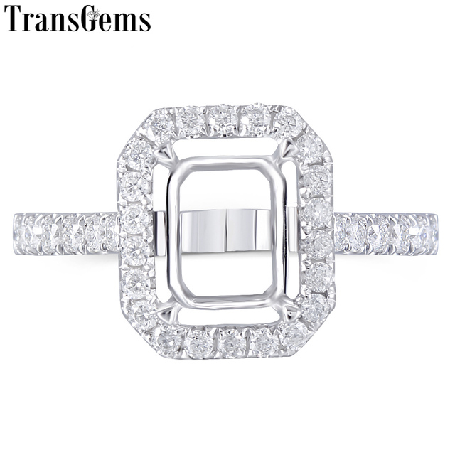 Transgems 14K White Gold Halo Type Ring Semi Mount without a 7*9mm Emerald  Gemstone but with Moissanite Accents Customized Ring